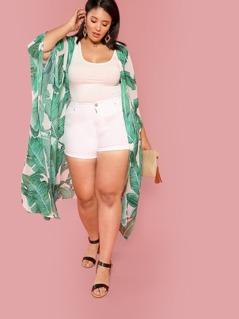 Plus Palm Leaf Print Poncho Sleeve Kimono