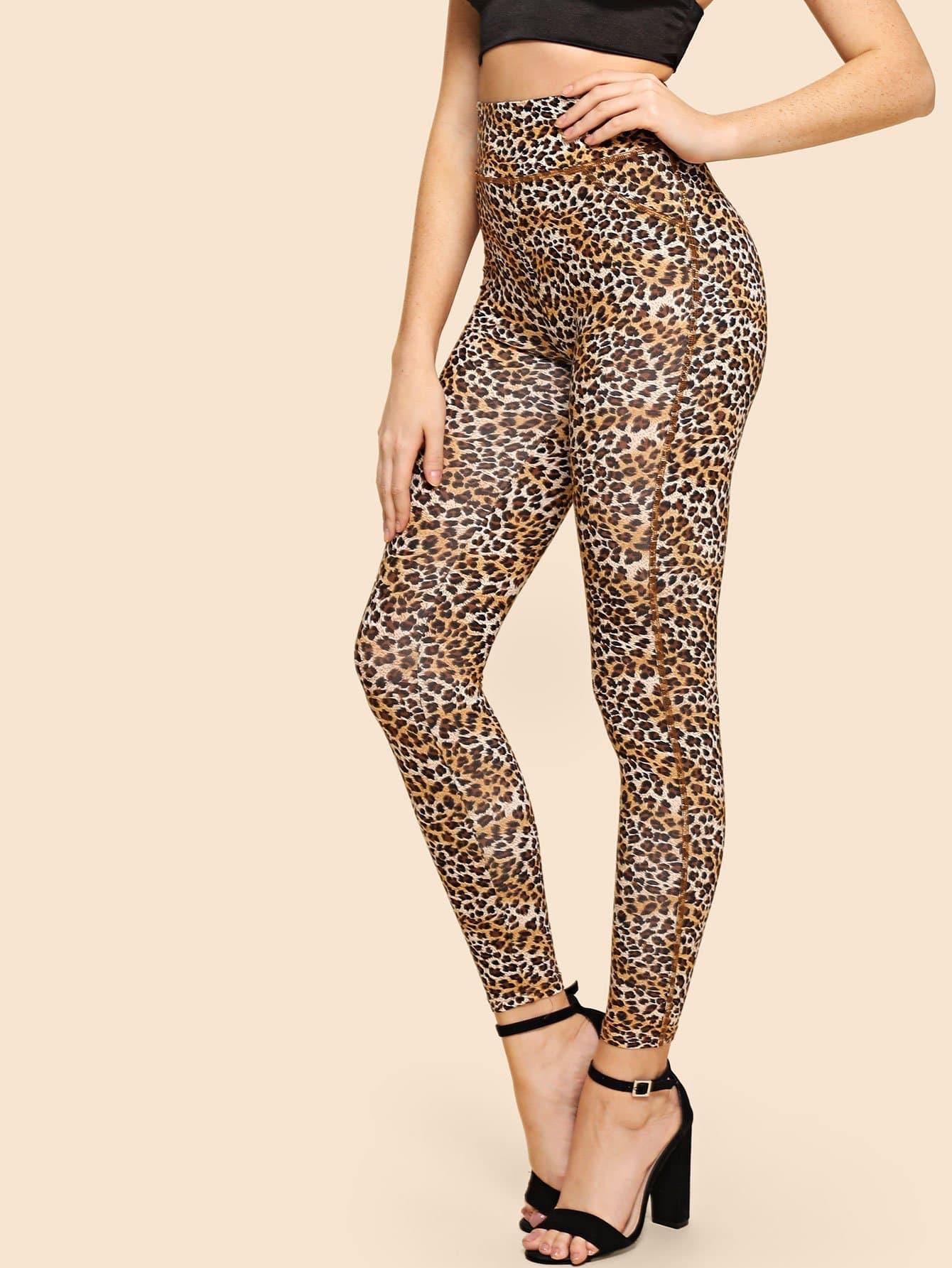 Wide Waistband Leopard Leggings leopard print leggings