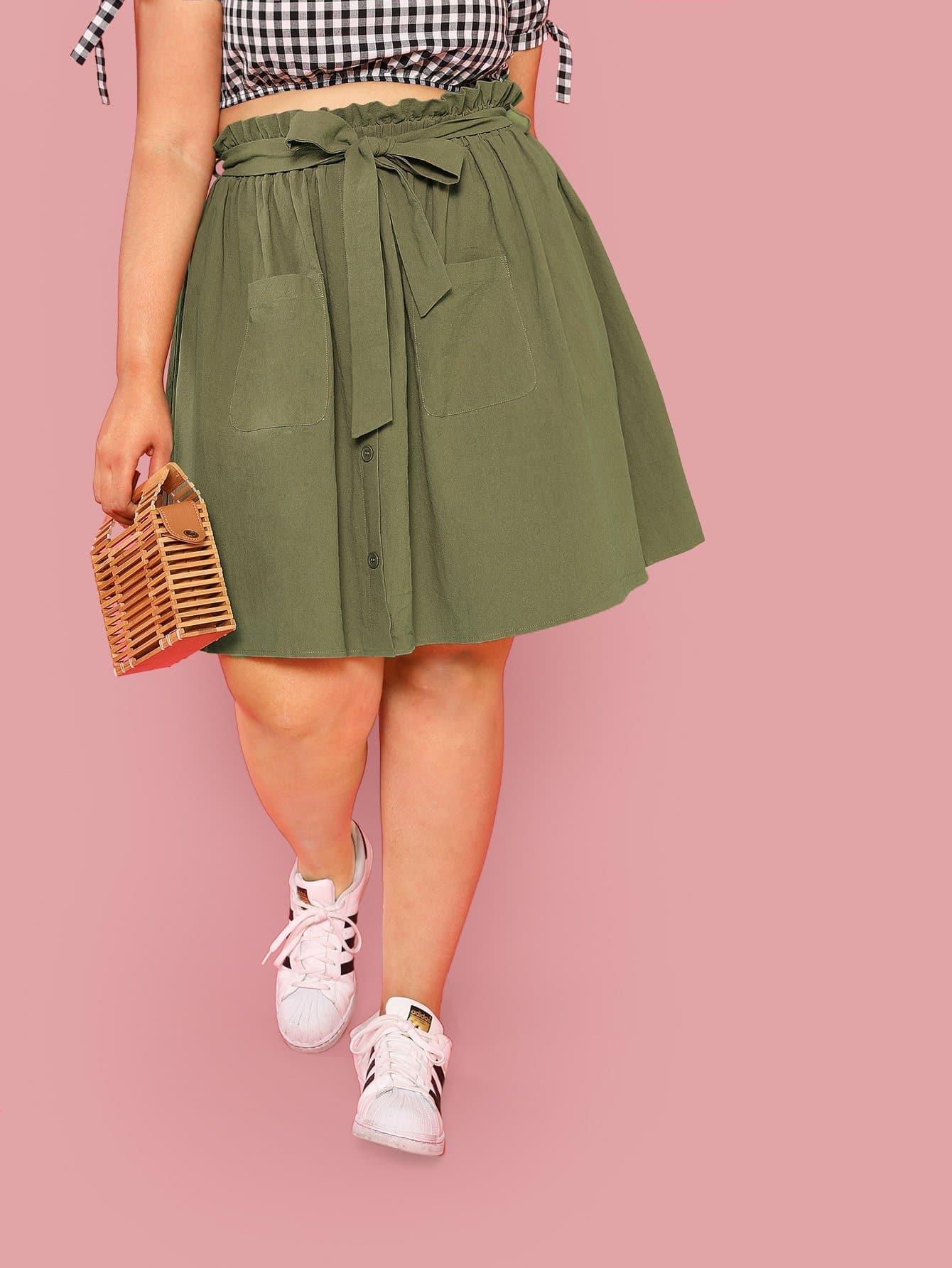 Belted Frilled Waist Pocket Patched Skirt high waist pocket patched dot skirt
