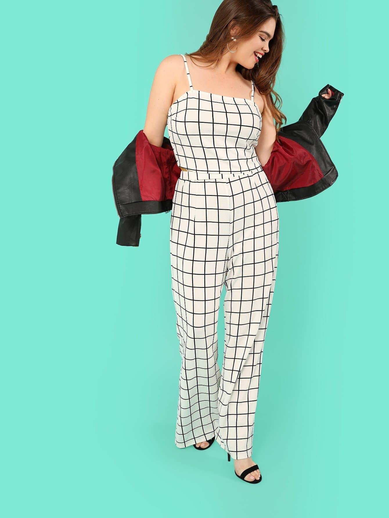 Plus Grid Crop Cami Top & Pants Set grid crop cami top