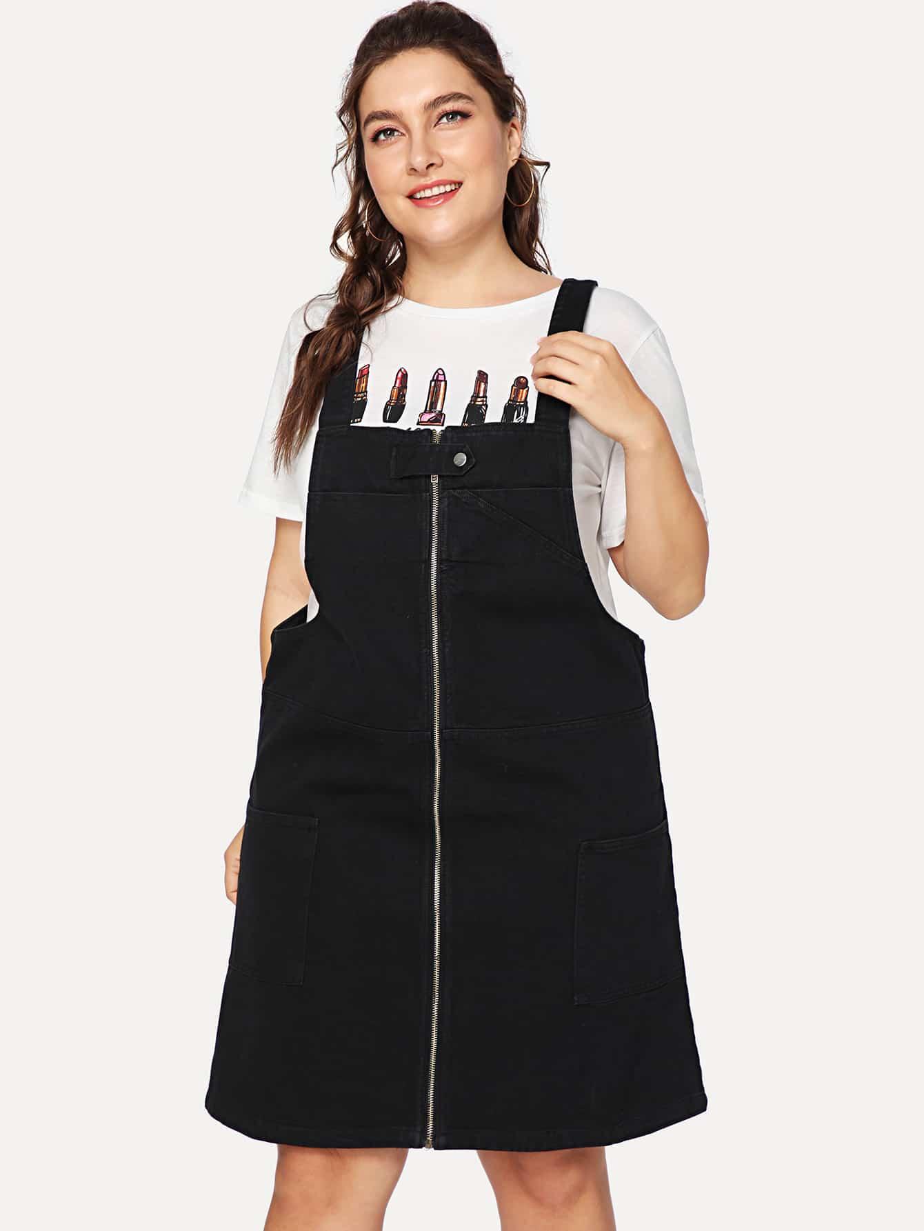 Купить Платье с молнией деним, Franziska, SheIn