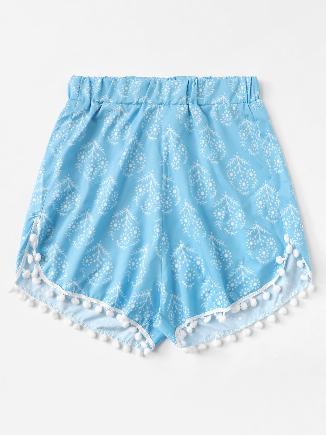 Pom Pom Trim Floral Beach Shorts pom pom trim tropical swim cover up shorts