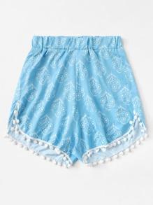 Pom Pom Trim Floral Beach Shorts
