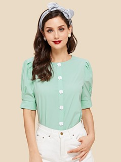 Box Pleated Puff Sleeve Blouse