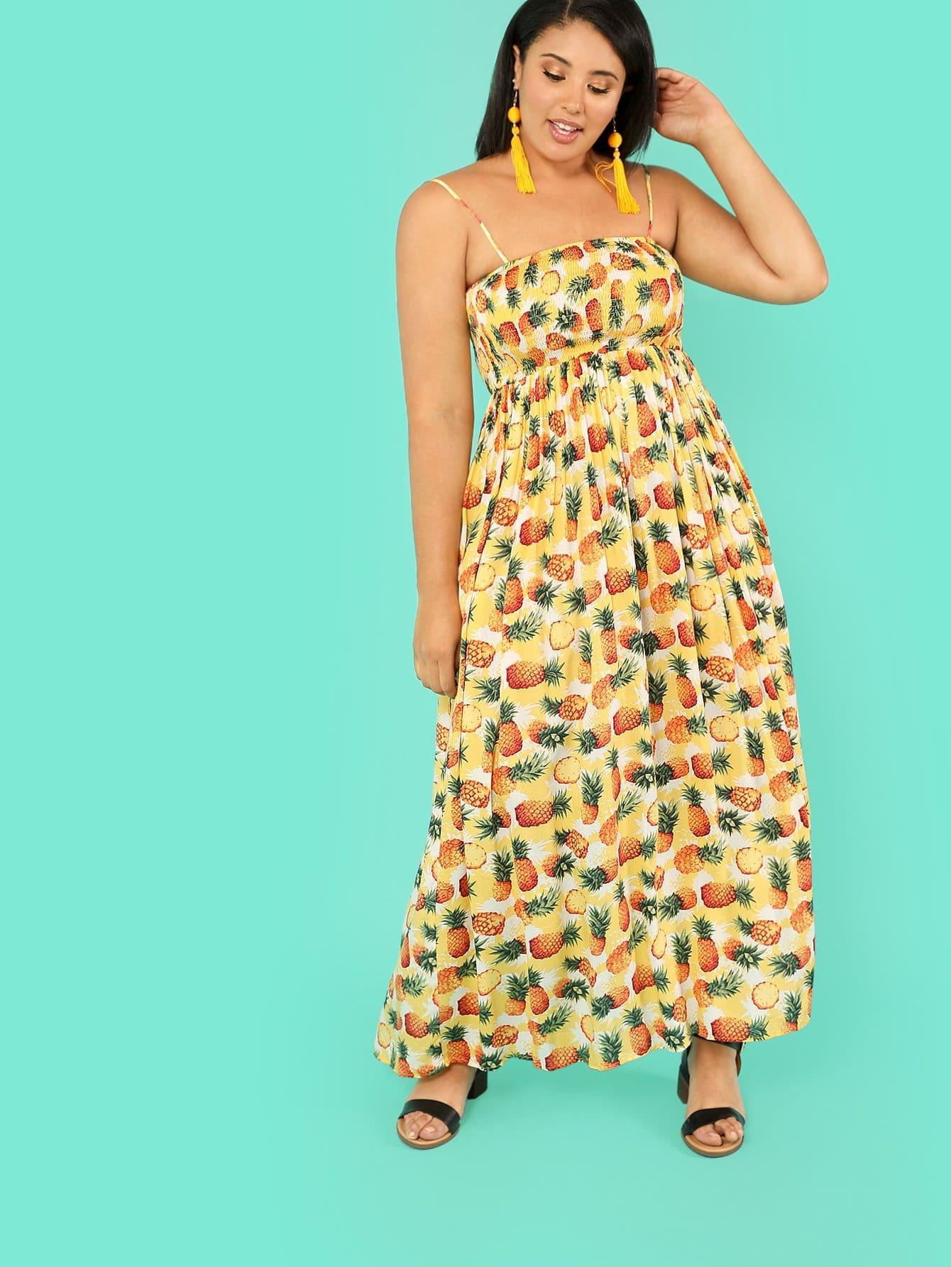 Pineapple Print Smock Cami Dress pineapple print smock cami dress