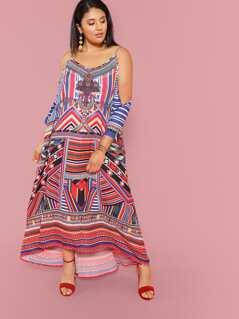 Plus Open Shoulder Mixed Print Oversized Dress
