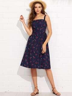 Button Up Cherry Print Strap Dress