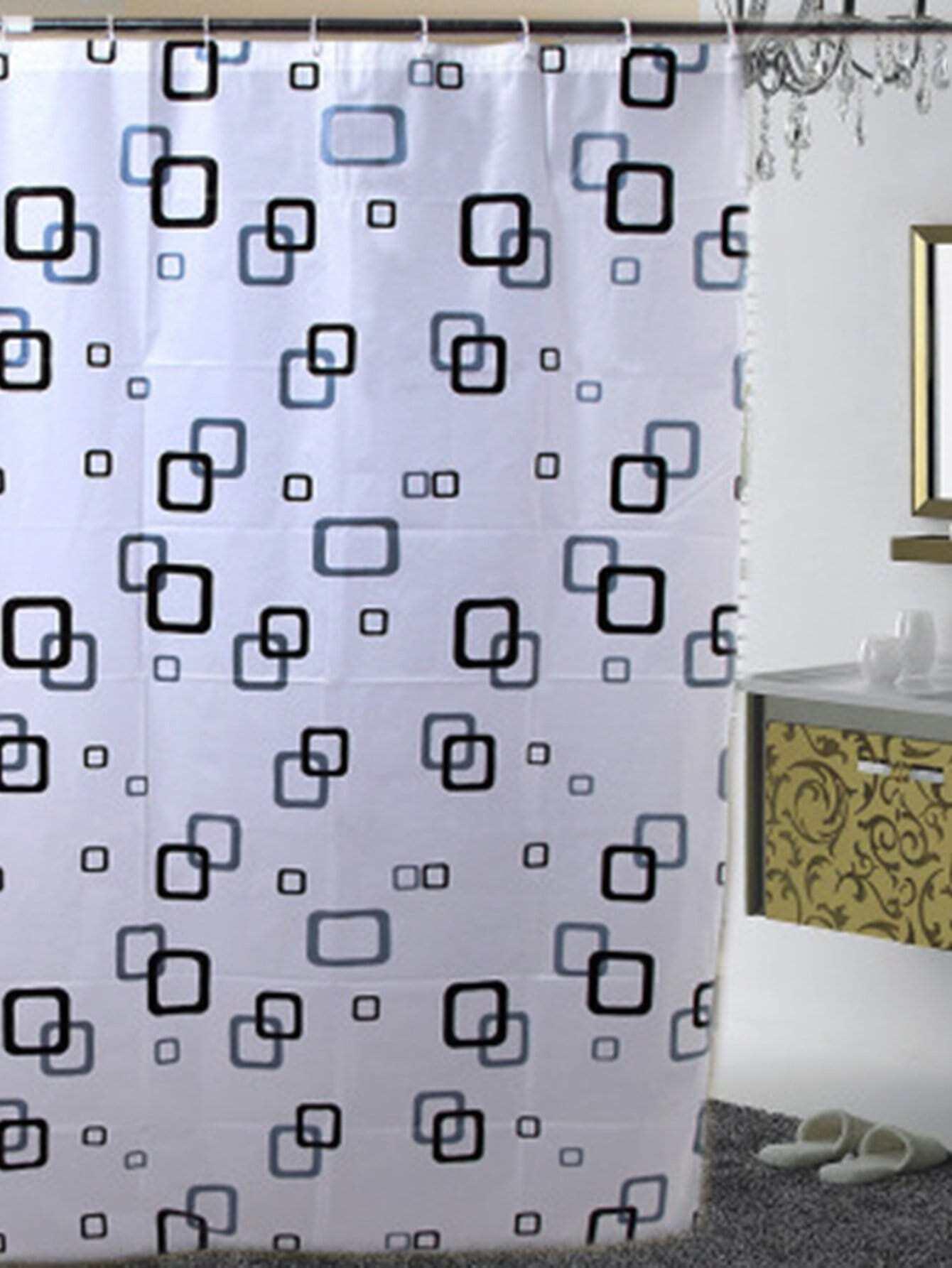 Geometric Print Shower Curtain With 12pcs Hook geometric shower curtain with 12pcs hook
