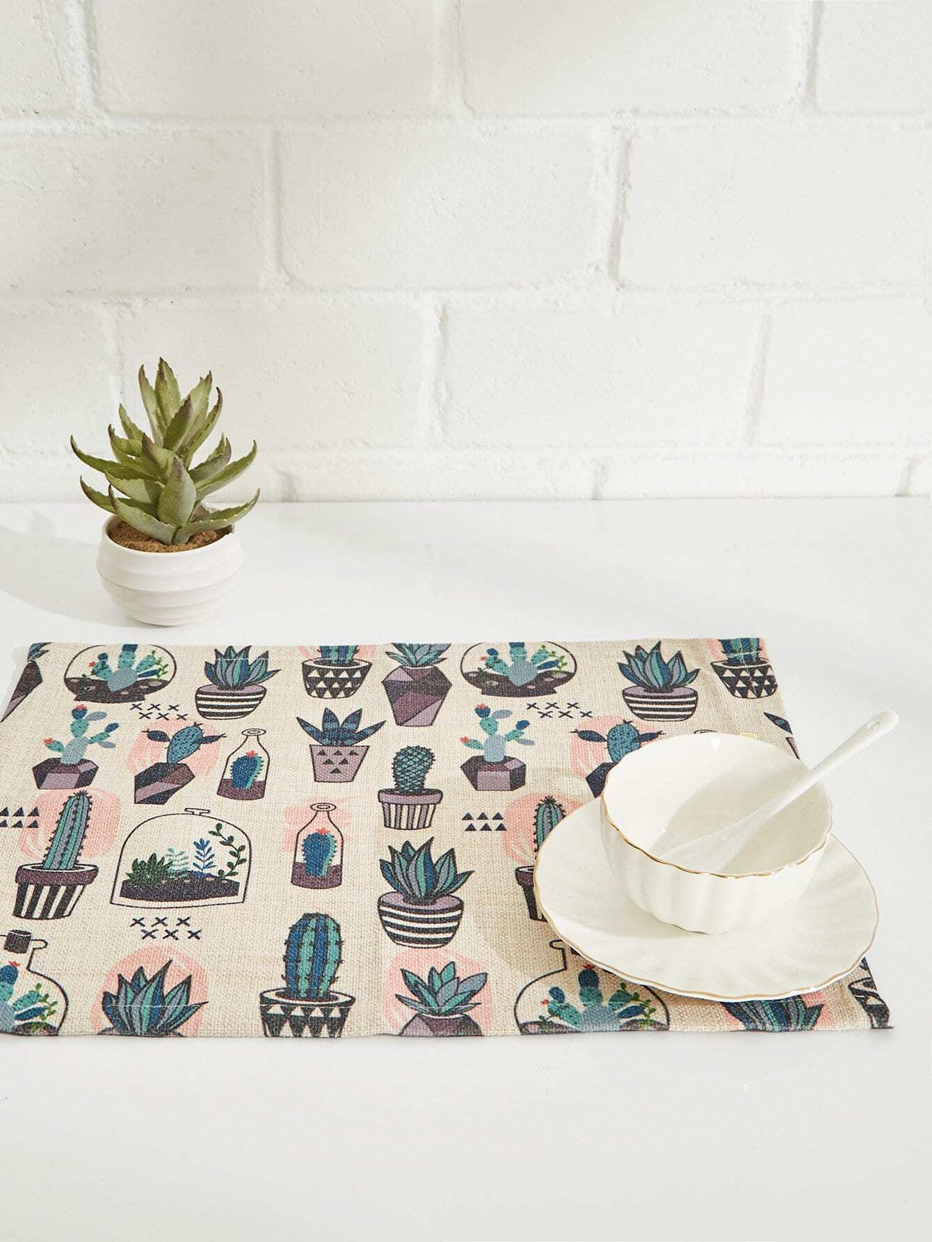 Cactus Overlay Linen Placement flamingo linen placement
