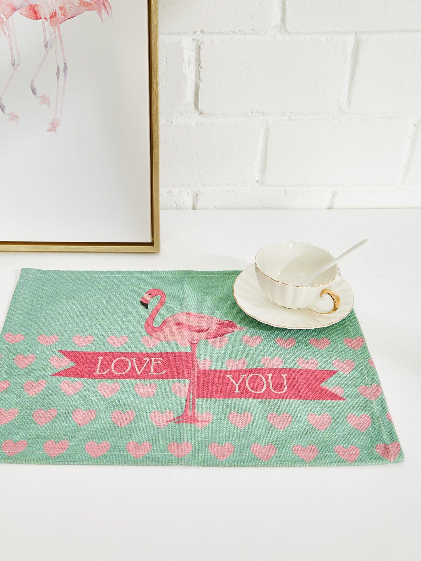Flamingo & Heart Linen Placement flamingo linen placement