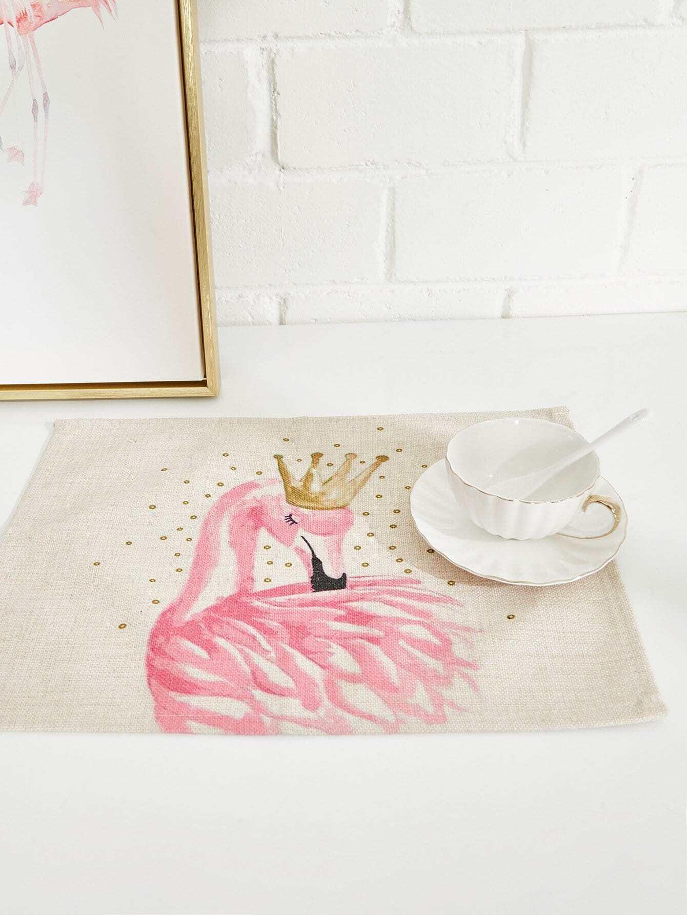Flamingo Print Linen Placement flamingo linen placement