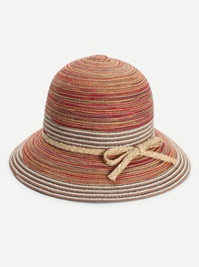 Braided Bow Tie Band Straw Hat