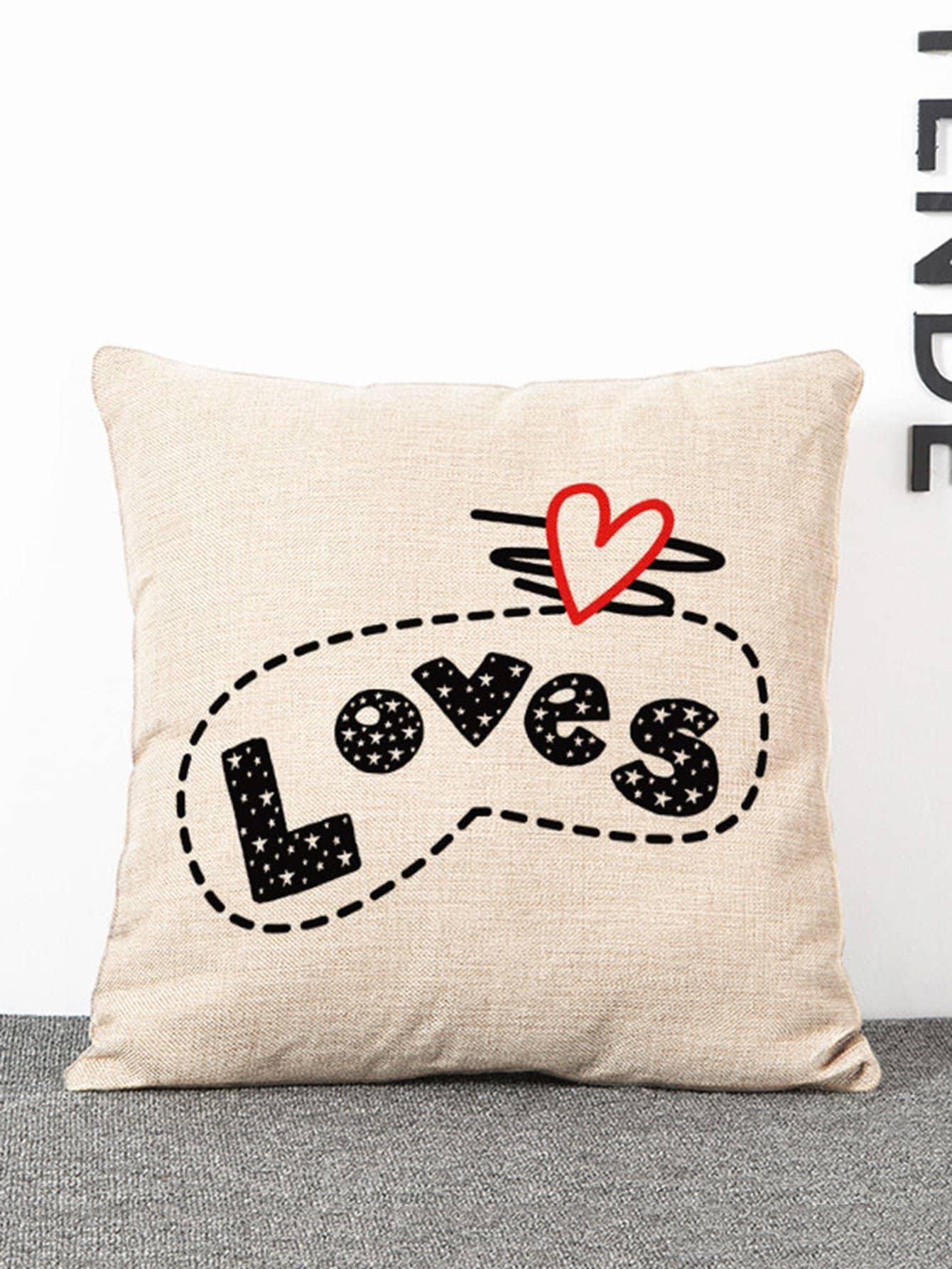 Letter Print Pillow Case letter print pillow case