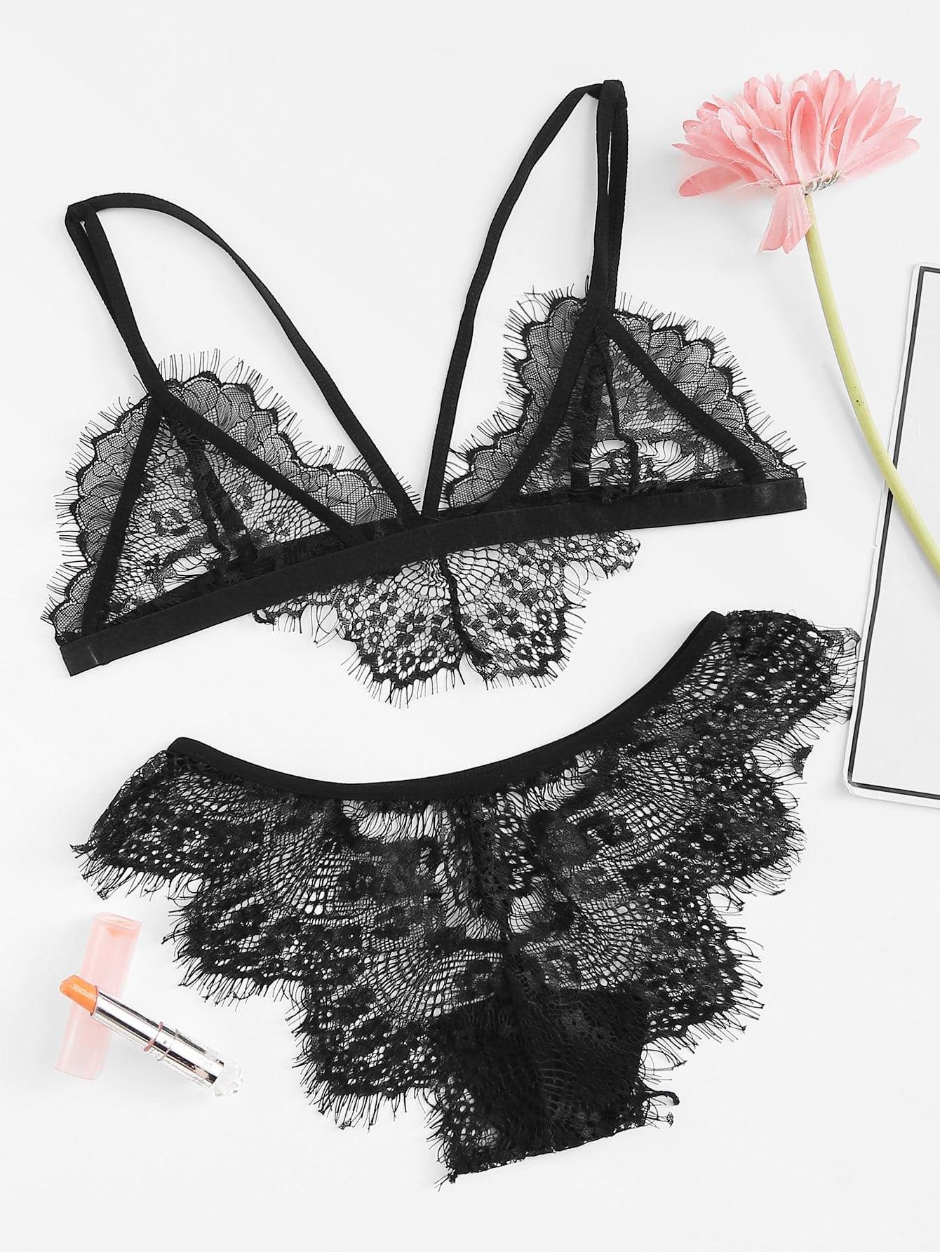 Eyelash Lace Lingerie Set eyelash lace sheer lingerie set