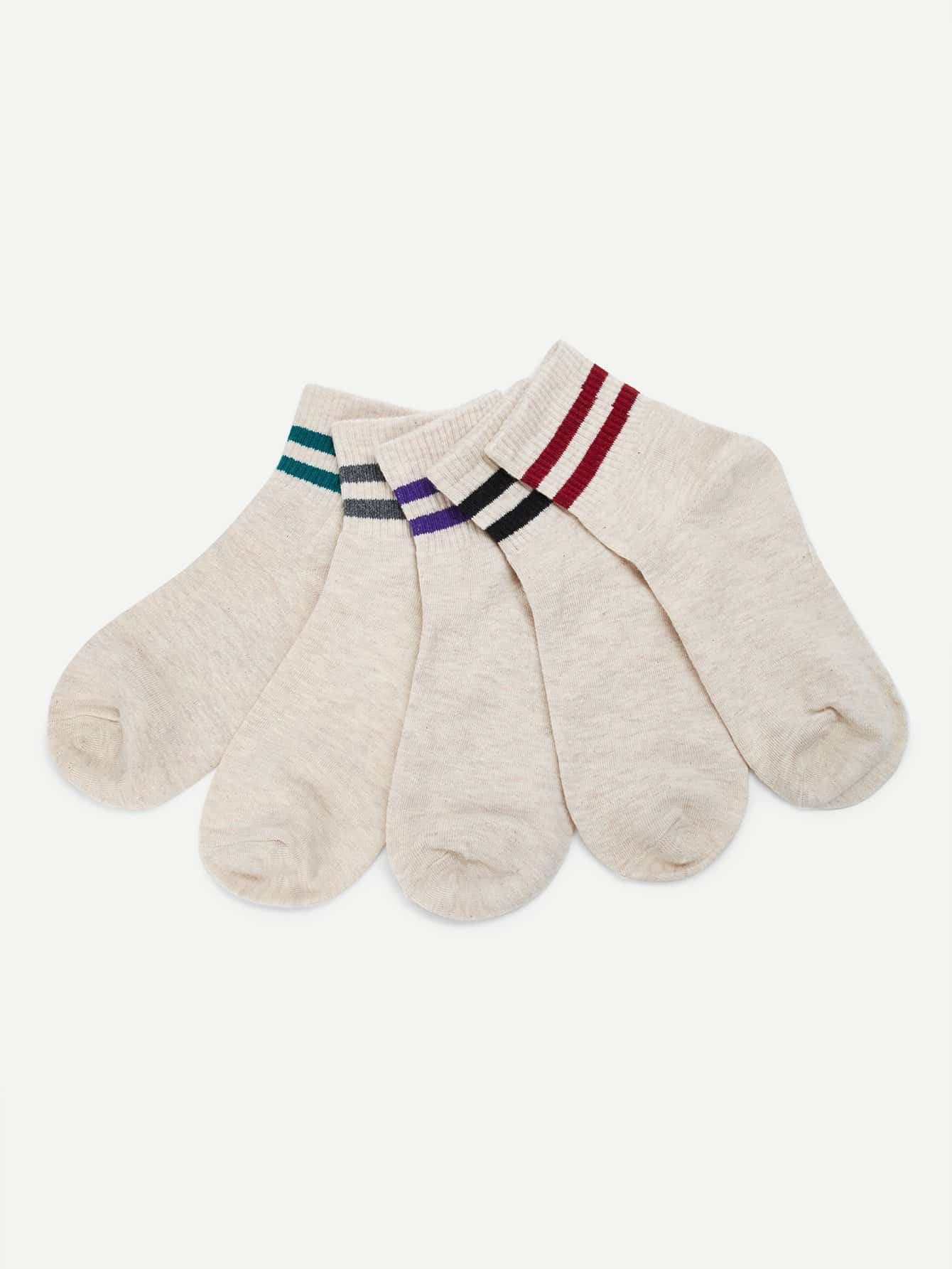 Striped Hem Socks 5pairs мобильный телефон sony l55t l55u xperia z3 4g