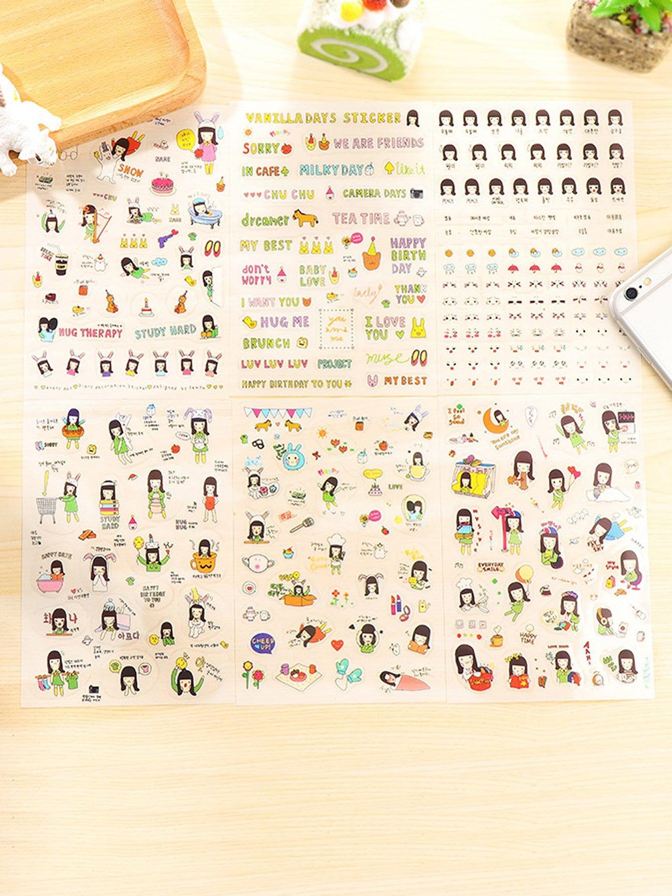 Cartoon Girl Sticker 6sheets