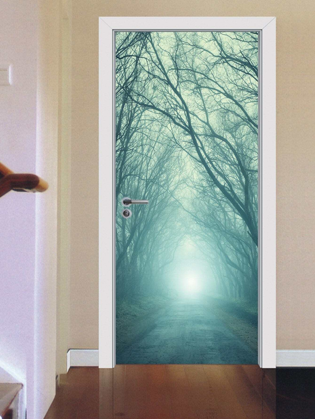 3D Jungle Door Sticker oversized feather door sticker
