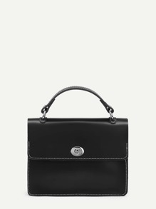 Twist Lock Flap Shoulder Bag