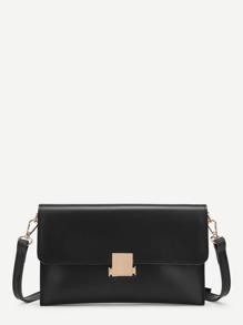 Metal Detail Flap Crossbody Bag