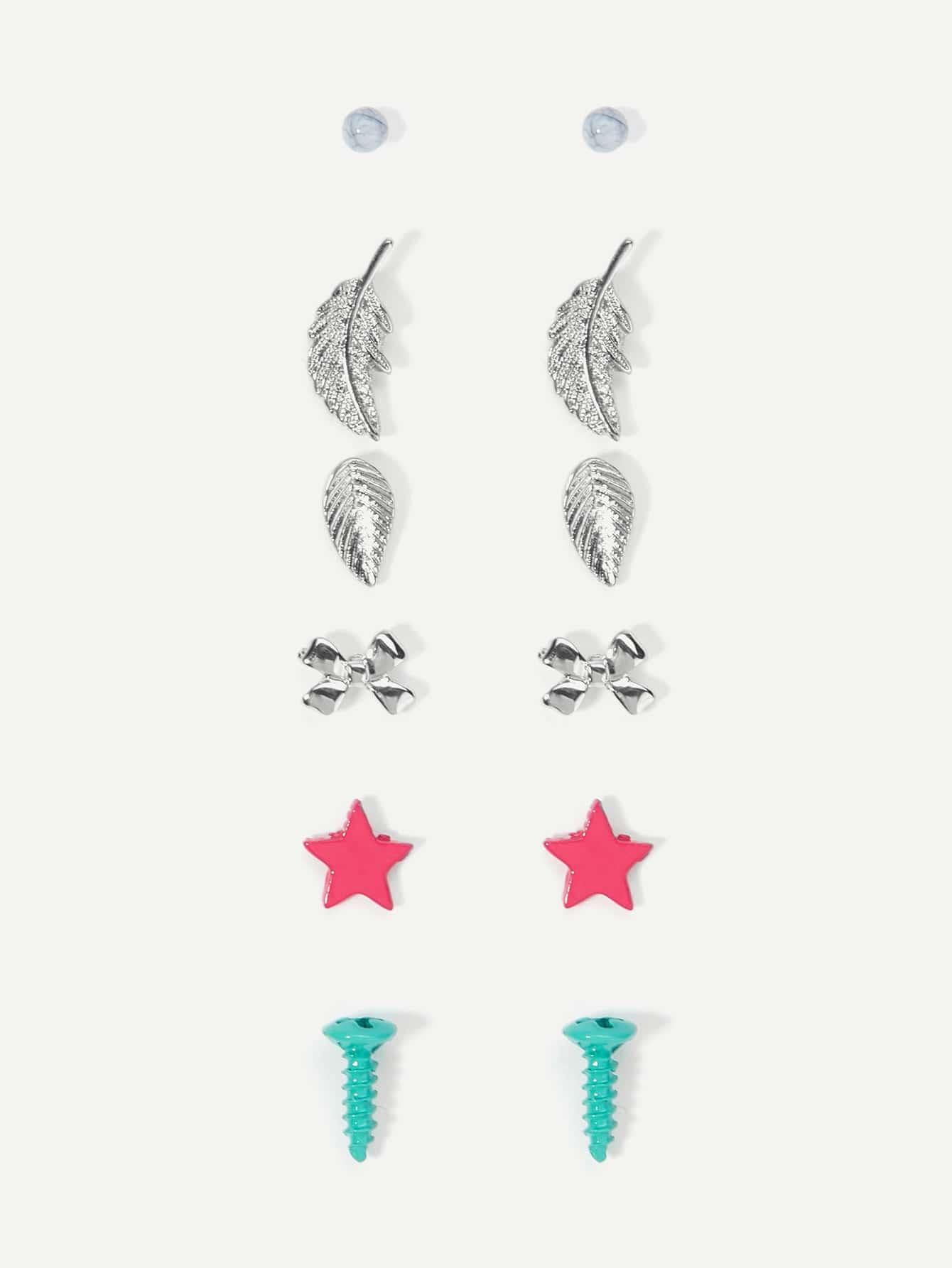 Купить Набор для серьги для листьев и звезд, null, SheIn