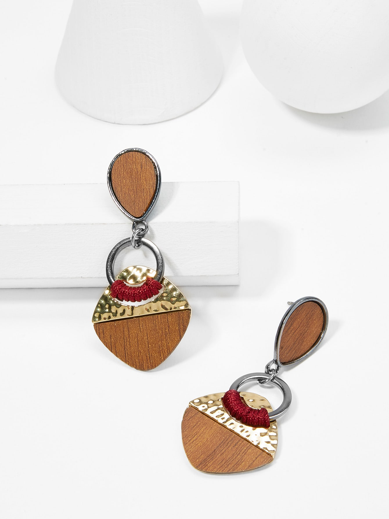 Contrast Design Drop Earrings rectangle design drop earrings