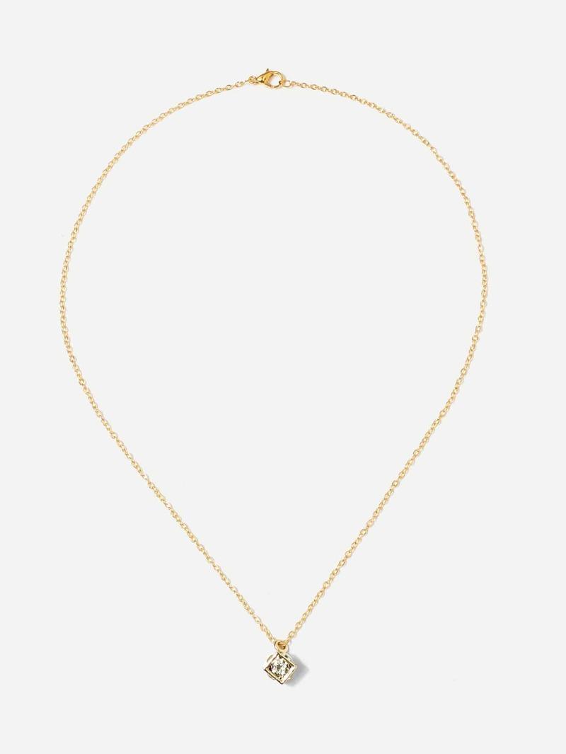 Rhinestone Geometric Pendant Chain Necklace, Gold