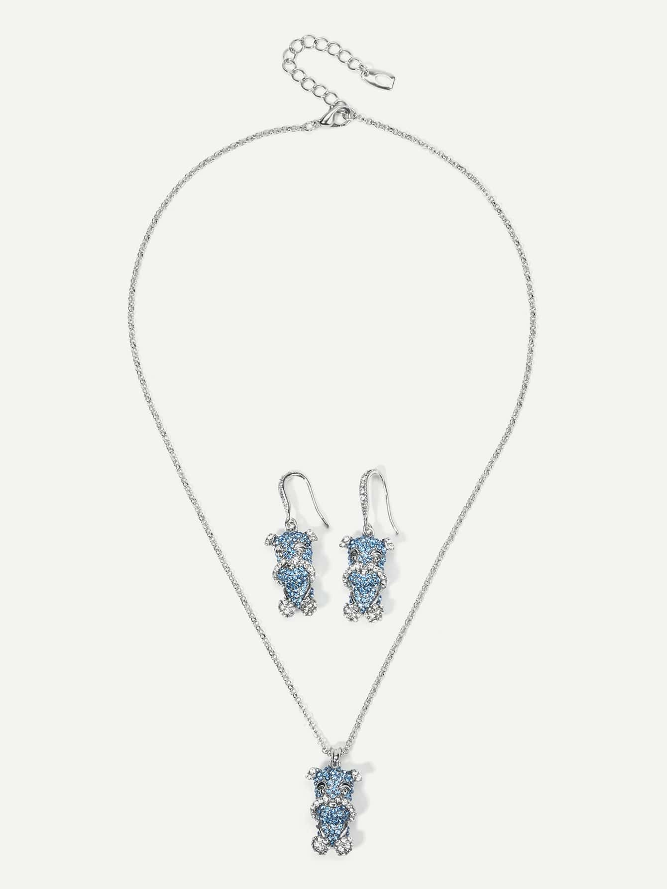 Animal Pendant Chain Necklace & Drop Earrings Set round drop chain necklace