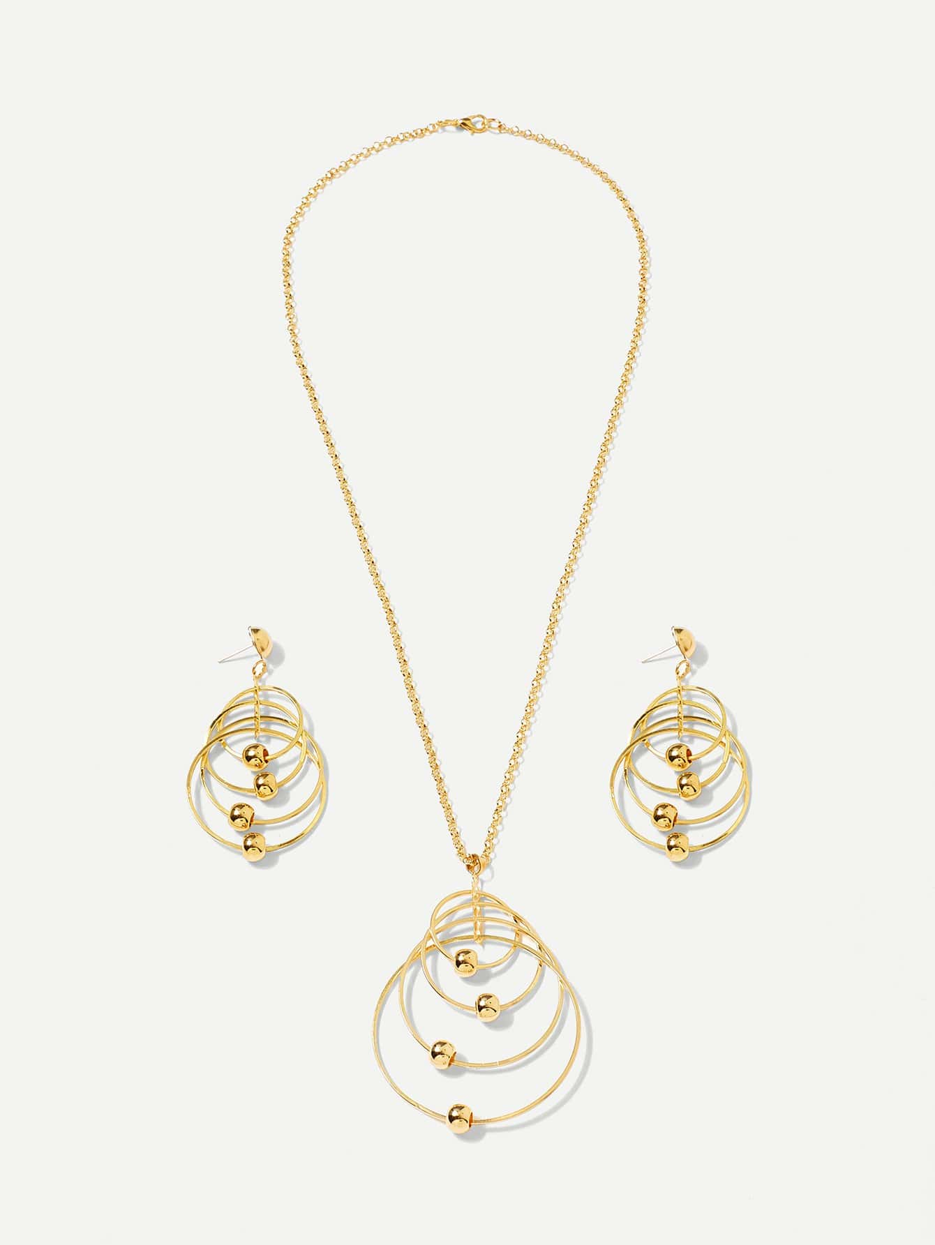 Layered Ring Pendant Chain Necklace & Drop Earrings Set round drop chain necklace
