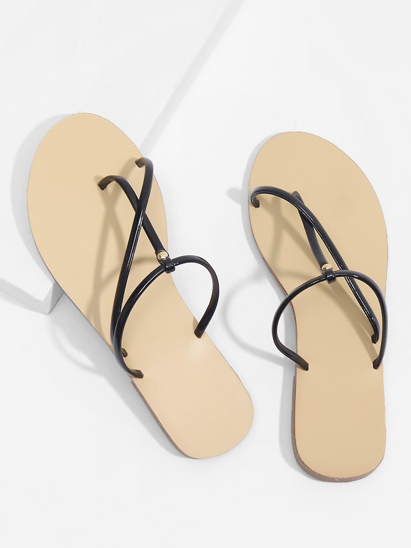 Toe Post Strappy PU Flat Sandals rockstud toe post strappy pu sandals