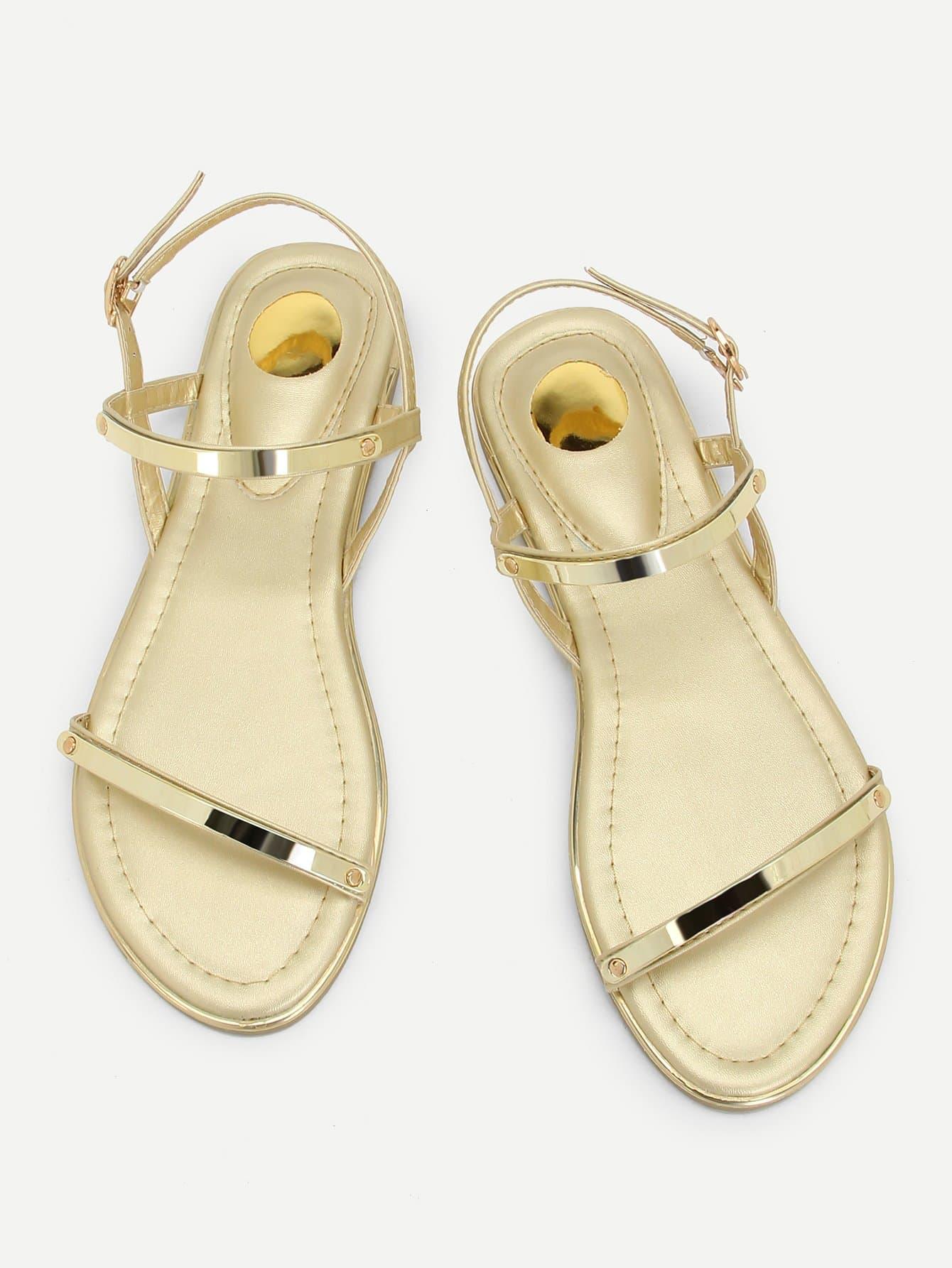 Metallic Strappy Flat Sandals metallic strappy flat sandals