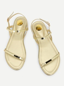 Metallic Strappy Flat Sandals
