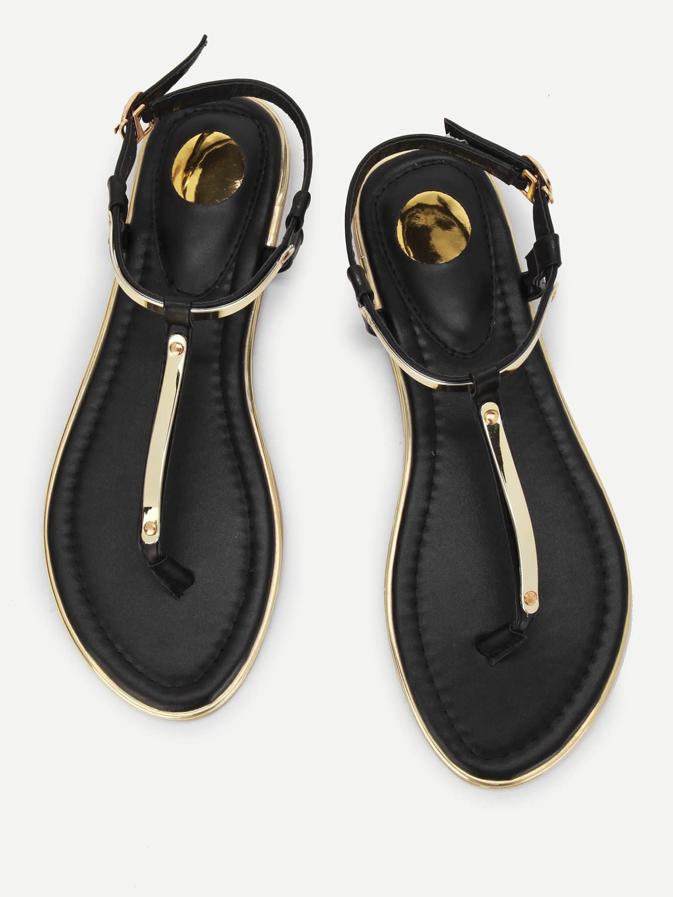 Metallic Toe Post Flat Sandals metallic strappy flat sandals