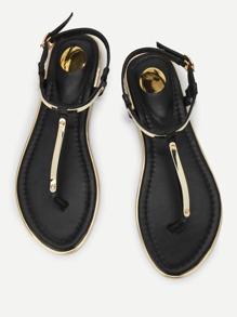 Metallic Toe Post Flat Sandals