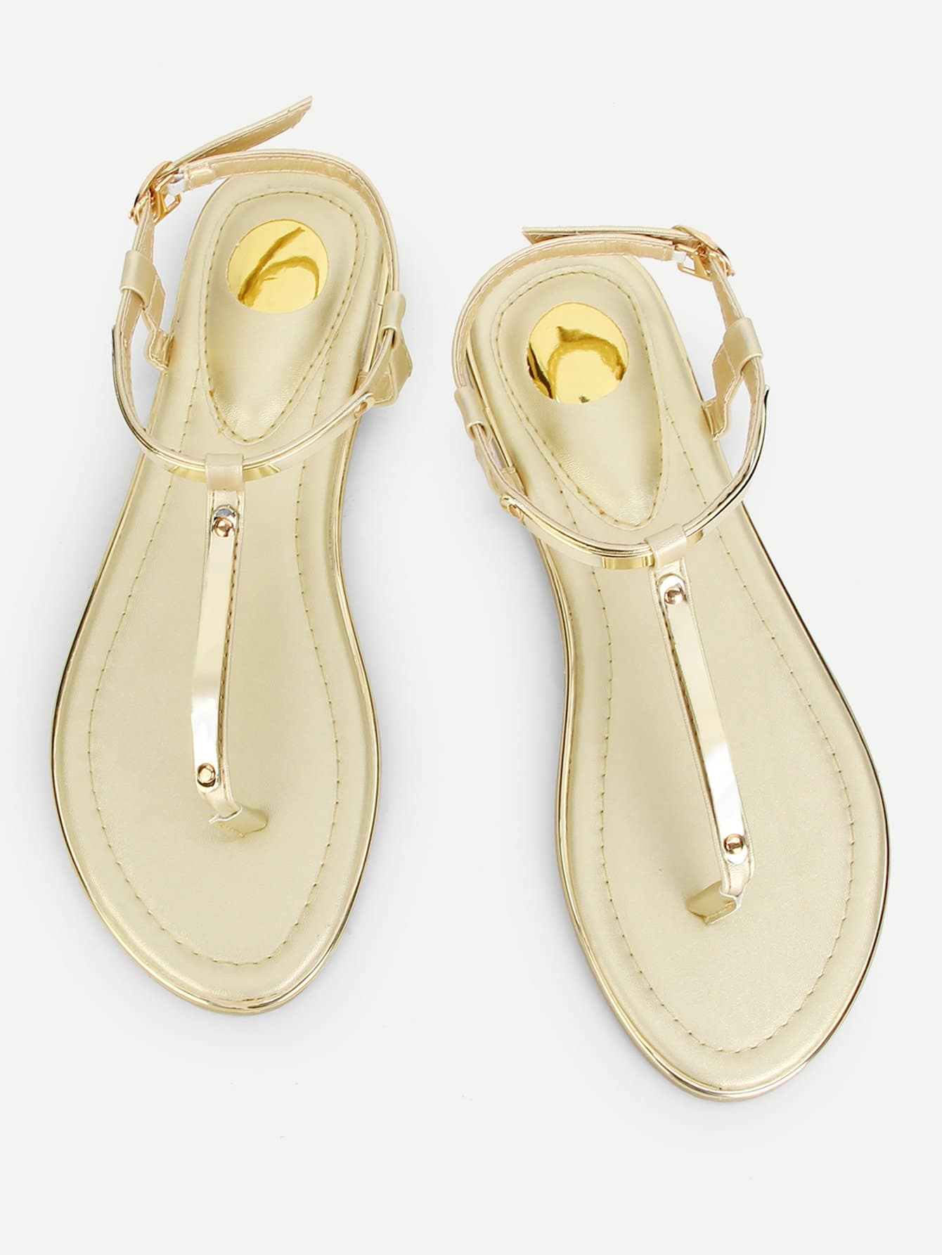 Купить Металлические носовые плоские сандалии, null, SheIn