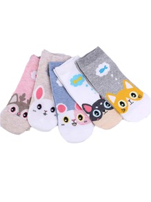 Cartoon Pattern Ankle Socks 5Pairs