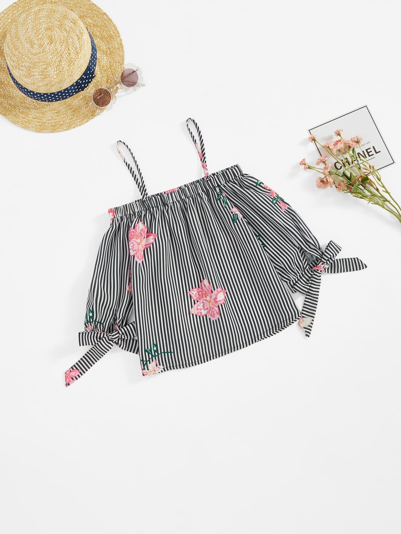Stripe & Flower Print Frilled Bardot Blouse