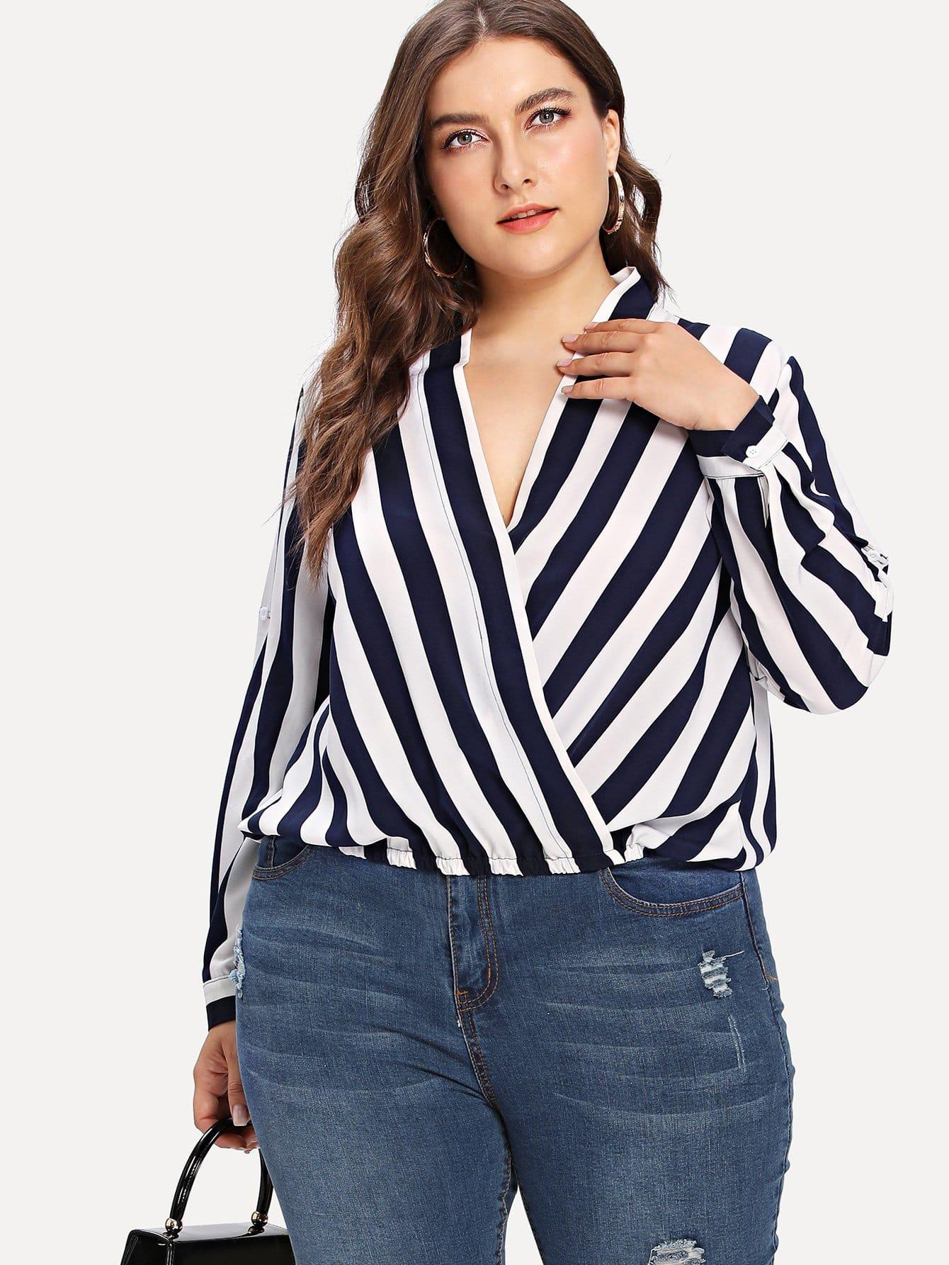 Plus Roll Tab Sleeve Surplice Wrap Striped Top roll tab sleeve knotted hem striped shirt