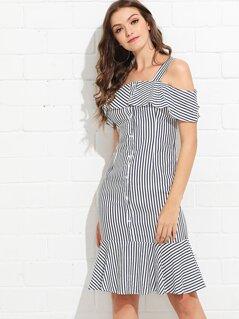 Ruffle Trim Striped Fishtail Dress