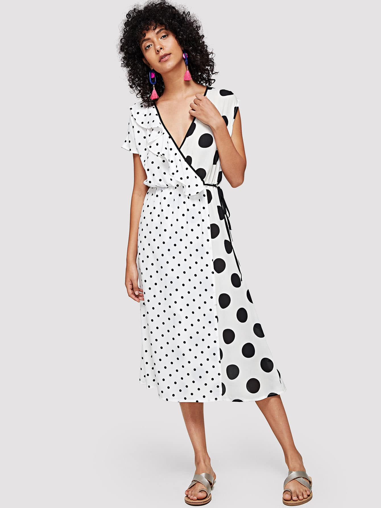 Contrast Binding Ruffle Trim Dot Dress contrast halter and binding layered ruffle bodice jumpsuit