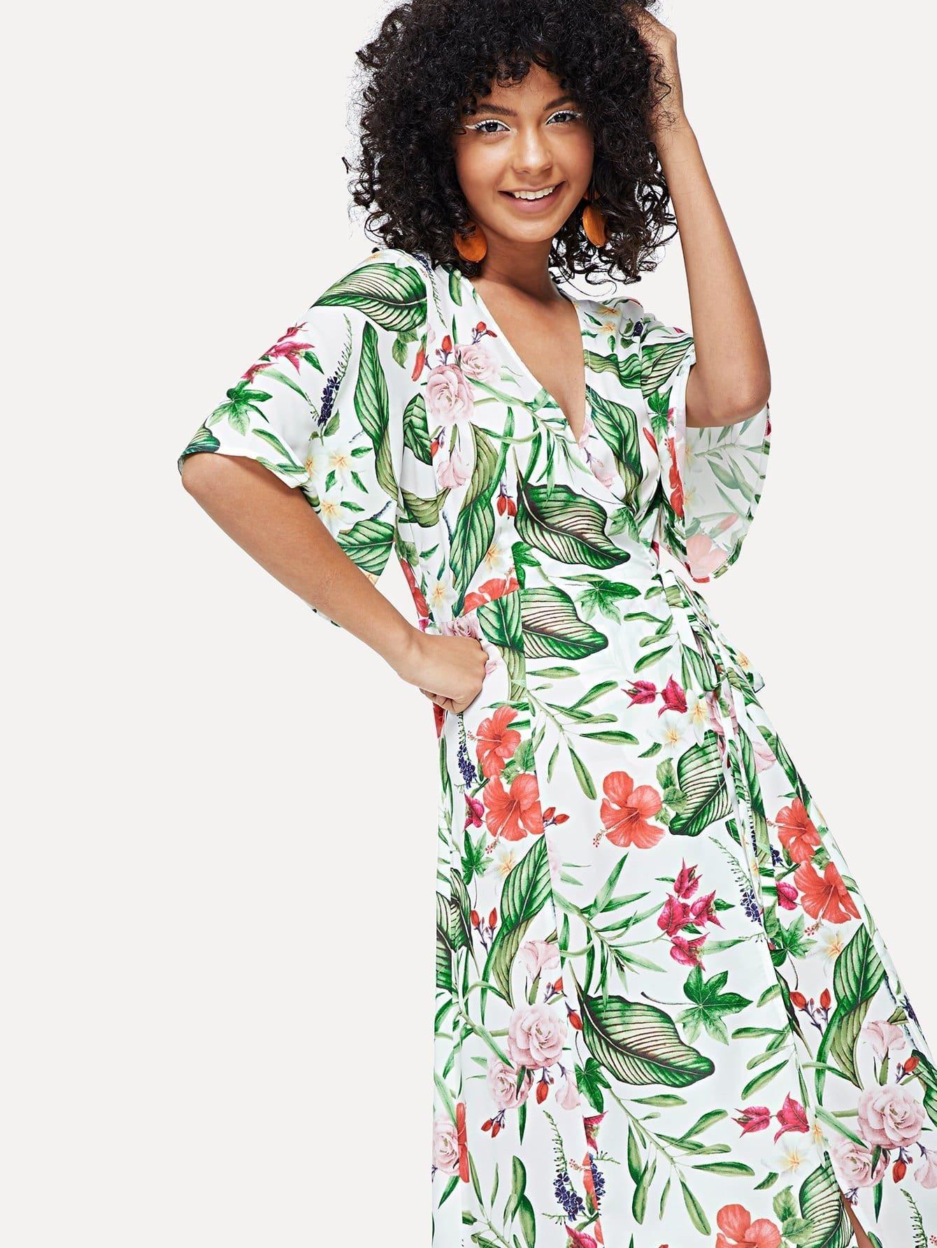 Botanical Print Surplice Wrap Dress botanical print surplice wrap dress