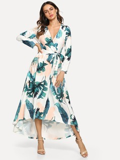 Jungle Leaf Print Wrap Front Dress