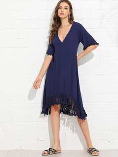 V Neck Solid Tassel Hem Dress