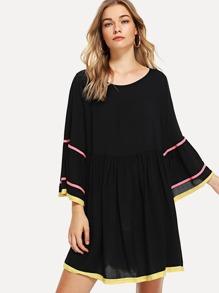 Flounce Sleeve Ribbon Detail Smock Dress