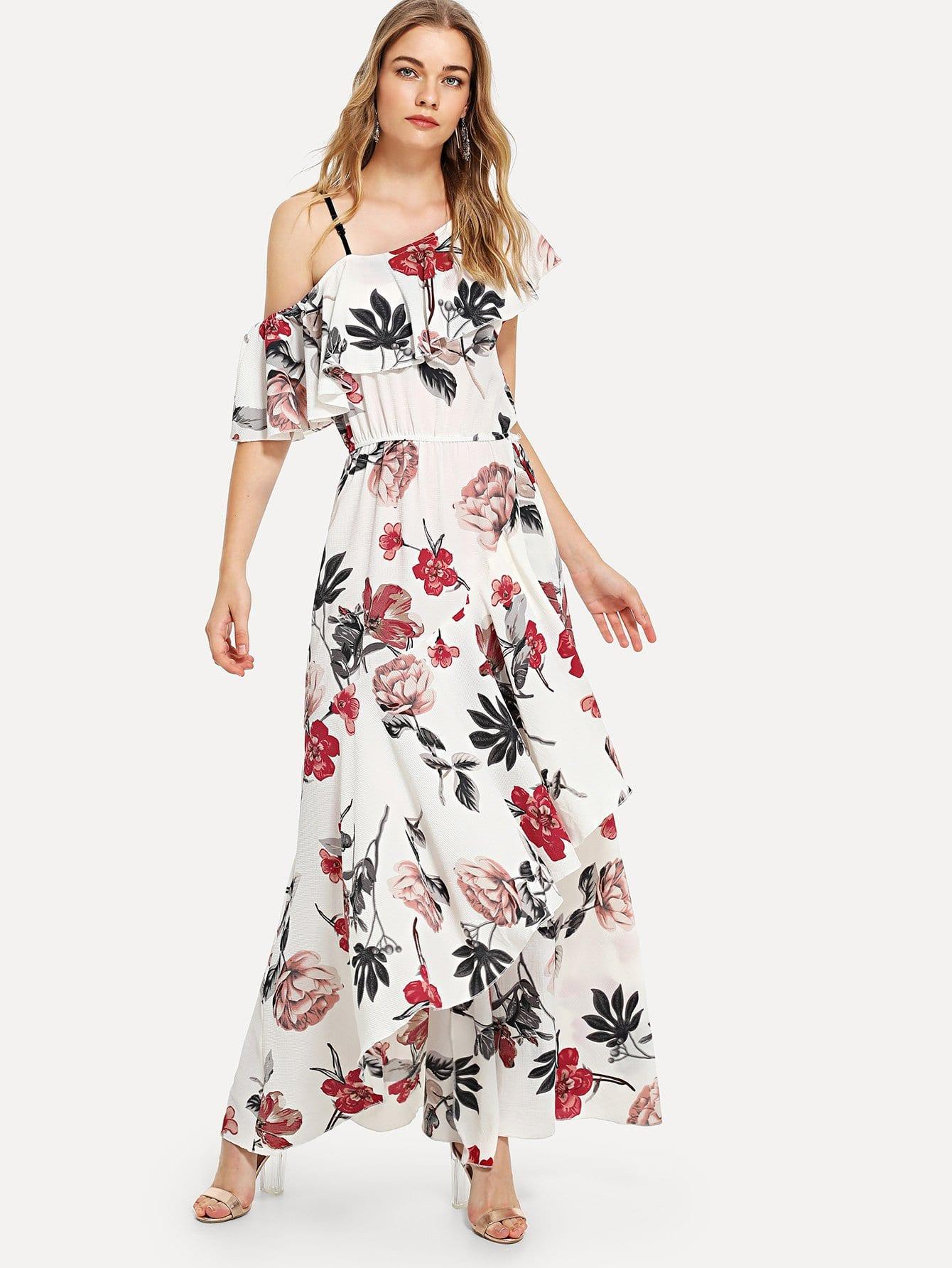 Купить Асимметричное украшение украшенное платье Dip Hem, Teresa, SheIn