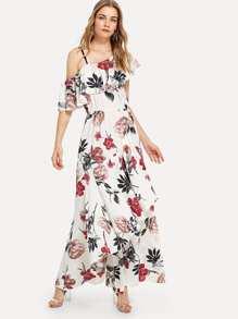 Asymmetrical Ruffle Embellished Dip Hem Dress