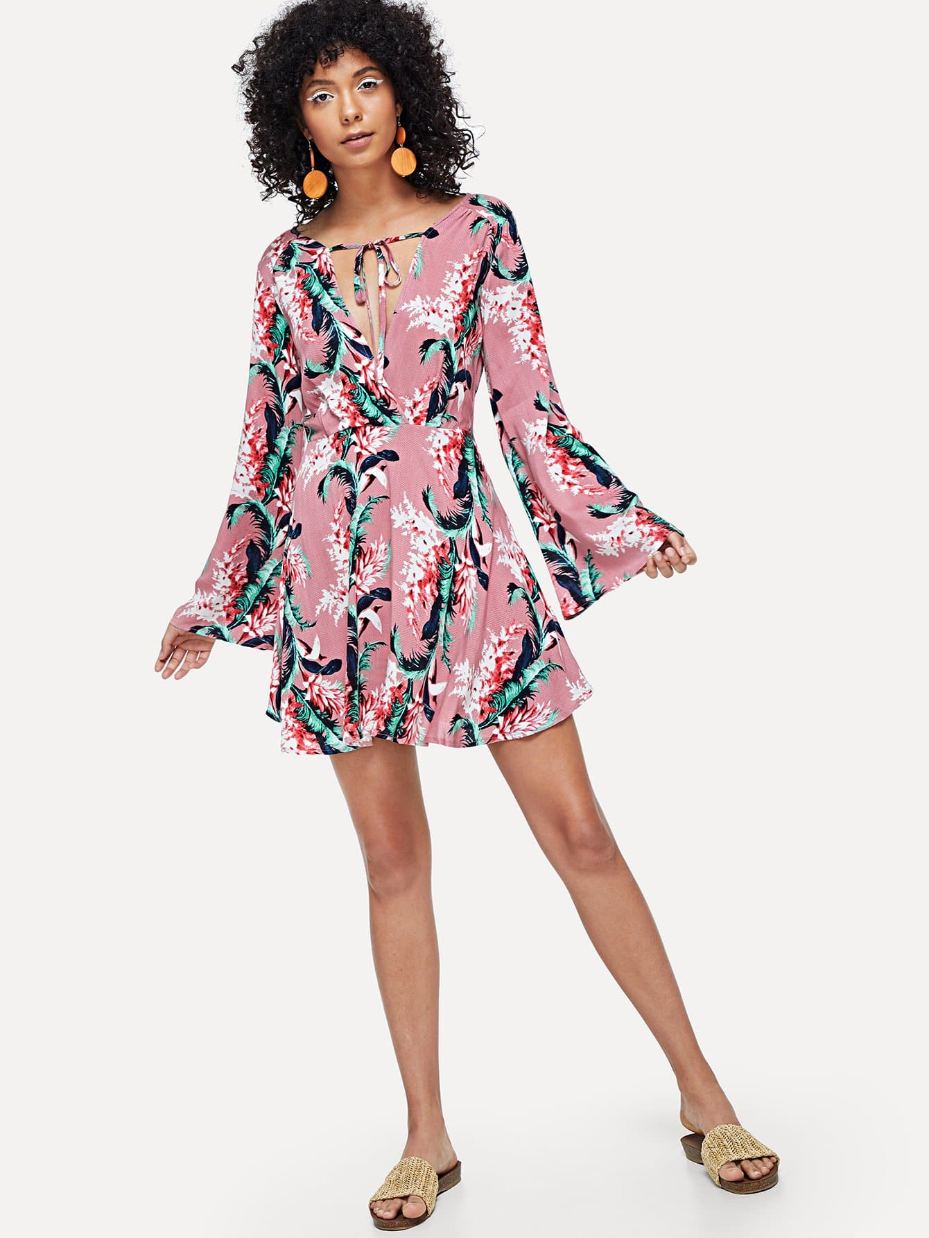 Bell Sleeve Floral Wrap Dress bohemian bell sleeve floral midi dress