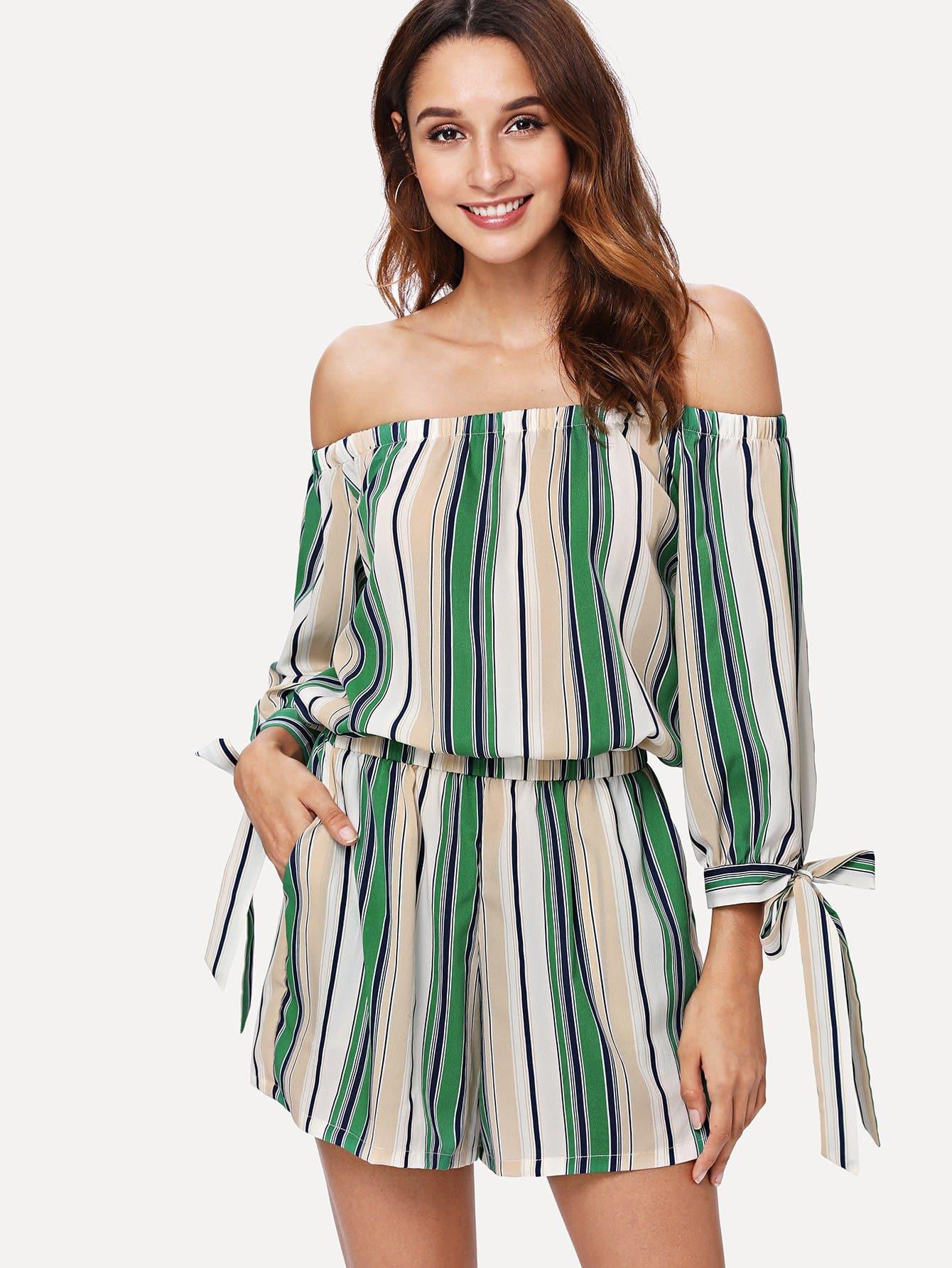 Купить Платье с полосками и открытыми плечами, Gabi B, SheIn