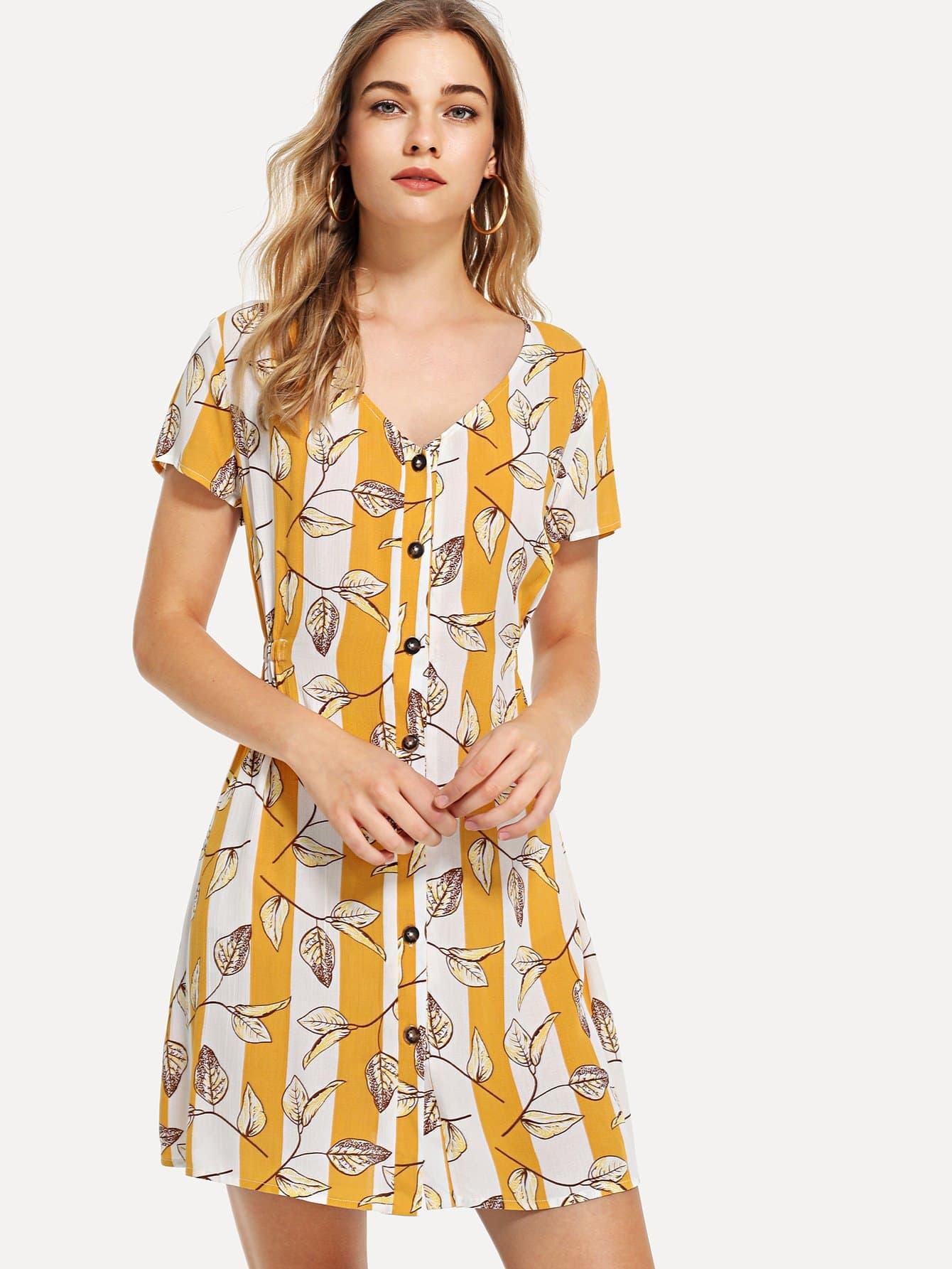 Купить Платье с пуговицами и полосками и листья, Teresa, SheIn