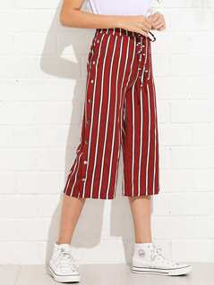 Drawstring Waist Buttoned Side Striped Pants