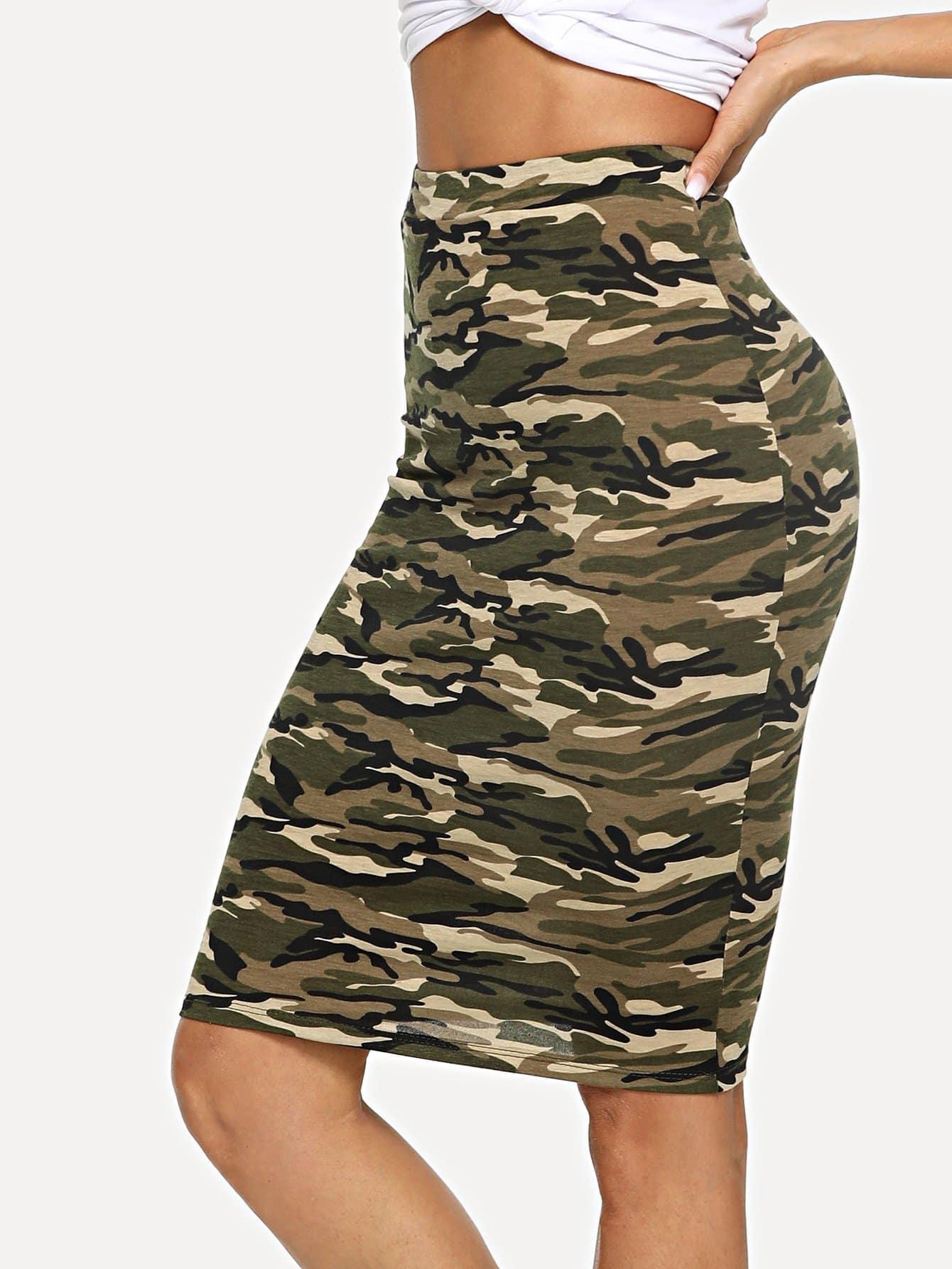 где купить Camo Print Pencil Skirt дешево
